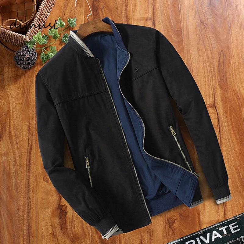 DIMUSI Spring Autumn Mens Bomber Jackets Fashion Men Double-sided Wear Windbreaker Jacket Man Slim Baseball Coats Clothing