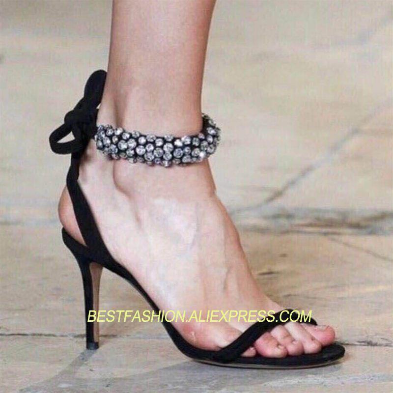 ad9703023721 2018 Sexy 7 Cristal S 9 Correa Del Gamuza Mujer Cm Verano Zapatos Pista  Tobillo Partido ...