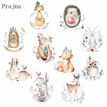 Prajna Cute Rabbit Patches Iron On Transfer For Clothing T-Shirts Heat Thermal Clothes Animal Owl Fox Patch Decor F