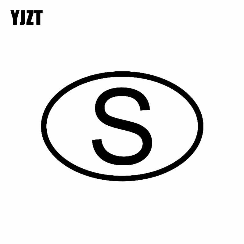 YJZT 14,1 CM * 9,5 CM S Schweden Land Code Oval Auto Aufkleber Vinyl Aufkleber Schwarz Silber C10-01286