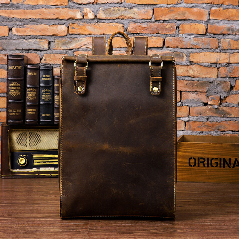 2019 Vintage 100% Genuine Cow Leather Backpacks Man Men Classic Coffee Shoulder Bags Crazy Horse Leather Cowhide Bags (MLT2512)