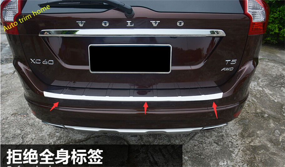 ФОТО Accessories ! For Volvo XC60 2014 2015 2016 Stainless Steel Rear Trunk Bumper Protector Plate Sill Cover Trim 1 pcs
