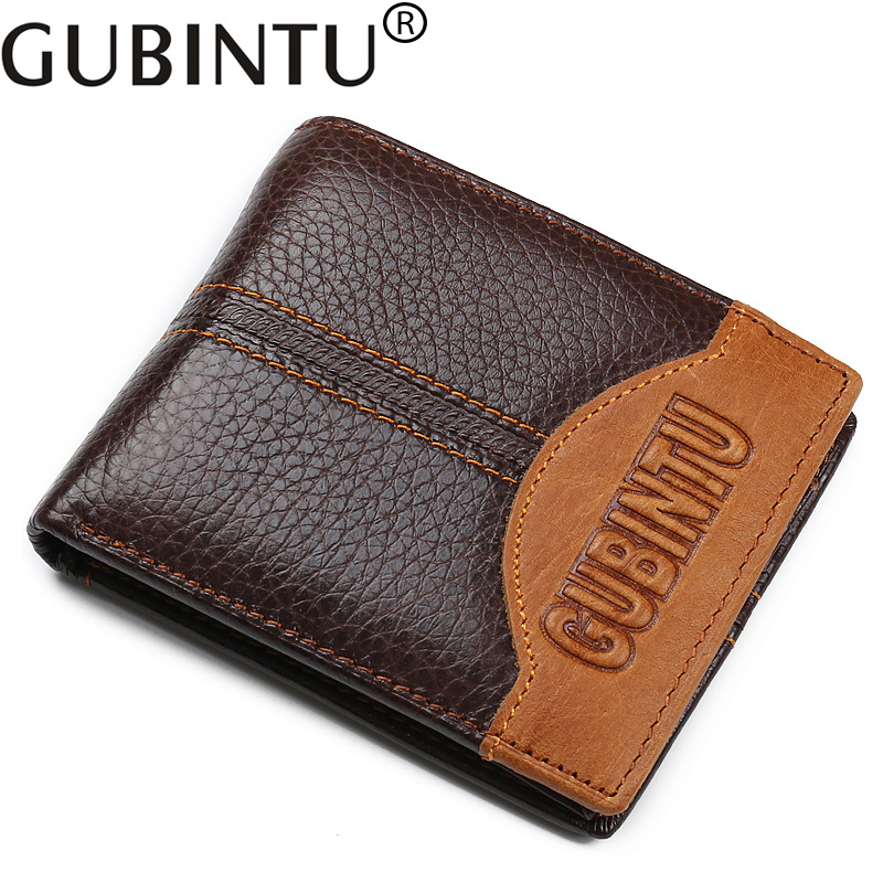 100% Real Cowhide Leather Wallet Men Coin Pocket Purse Carteira Masculina Brand Wallet Male Trifold Brown Genuine Wallet