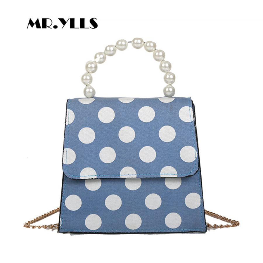 White Dots Women Shoulder Messenger Bags Pearl Handle Women Crossbody Bag Luxury PU Leather Ladies Flag Females Vintage Tote New