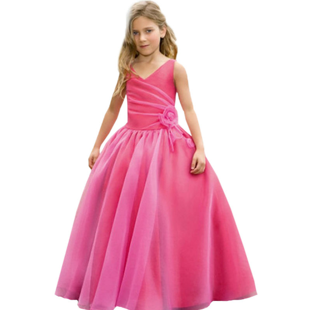 Red flower girl dresses Ankle-length first communion dresses for girls A-line flower girl dresses for weddings