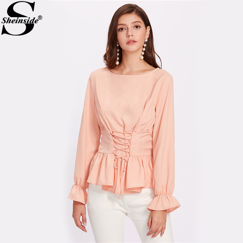 Sheinside Pink Bell Sleeve Cuff Lace Up Ruffle Peplum Blouse Women's Boat Neck Long Sleeve Elegant Top Autumn Work Wear Blouse