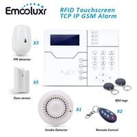 868 мГц сигнализации дома Системы английский голосовые подсказки Беспроводной и проводной GSM alarmas casas + 3 Pet ПИР Сенсор + 5 двери Сенсор + 1 Детект