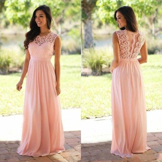 2019 Blush Pink   Bridesmaid     Dresses   For Wedding Jewel Lace Top A Line Floor Length Wedding Guest   Dress   Robe demoiselle d'honneur
