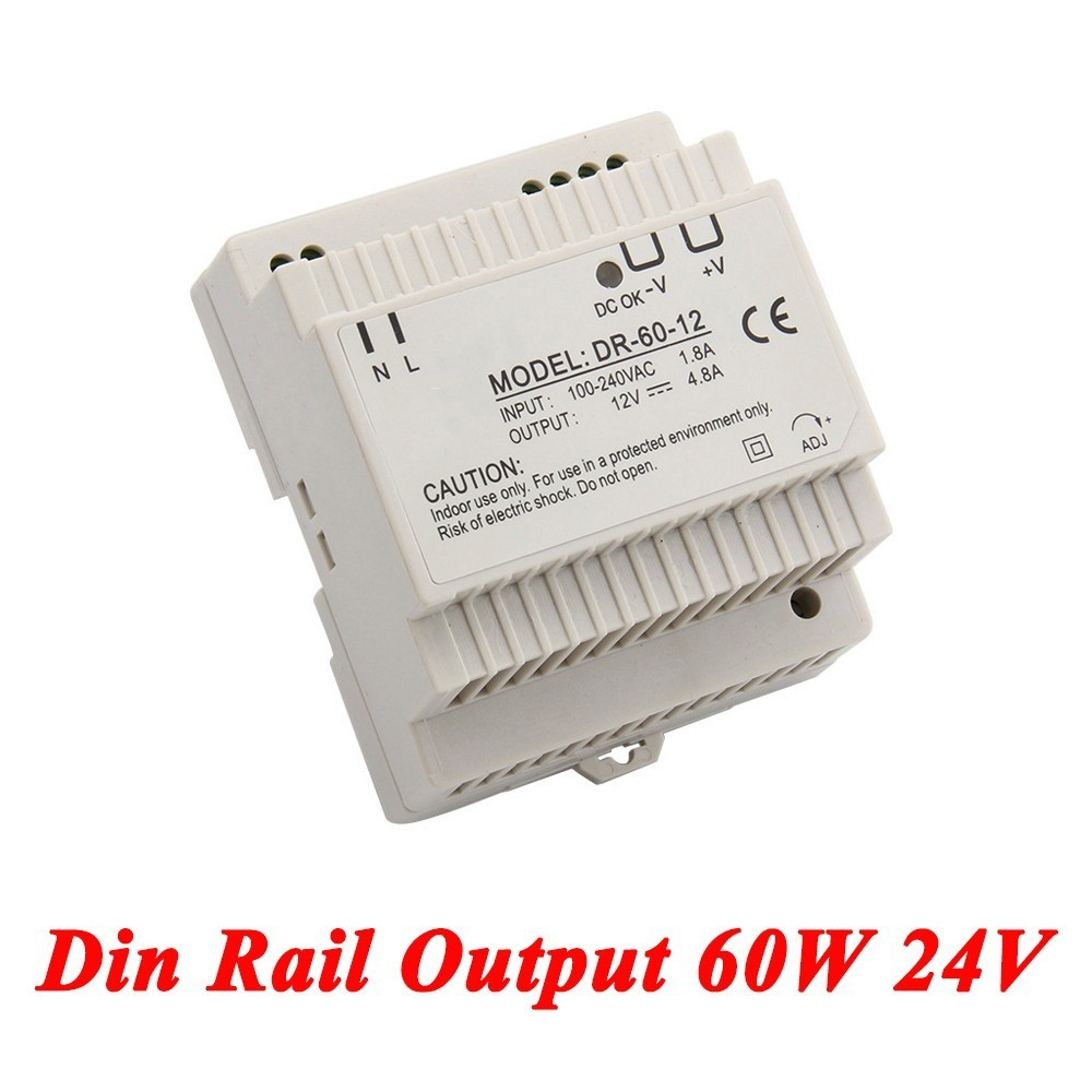 DR-60 Din Rail Power Supply 60W 24V 2.5A,Switching Power Supply AC 110v/220v Transformer To DC 24v,ac dc converter dr 240 din rail power supply 240w 48v 5a switching power supply ac 110v 220v transformer to dc 48v ac dc converter