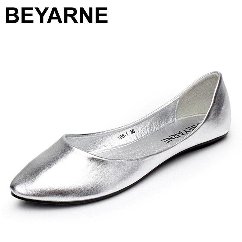 Más tamaño 35-41 moda pisos para las mujeres 2016 pies en Punta suela suave talón plano Zapatos sola calle moda pisos envío libre