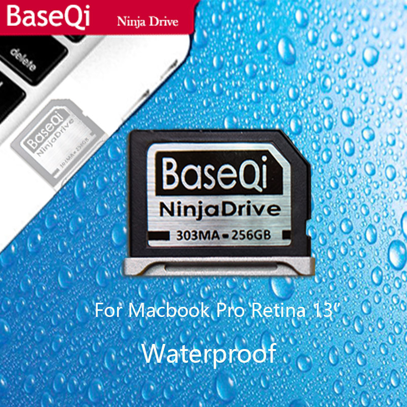 BaseQi Aluminum waterproof 256GB Storage Expansion SD Card For MacBook Pro Retina 13 (Model 303MA) transcend jetdrive lite 330 storage expansion memory sd card for macbook pro retina 13 64gb