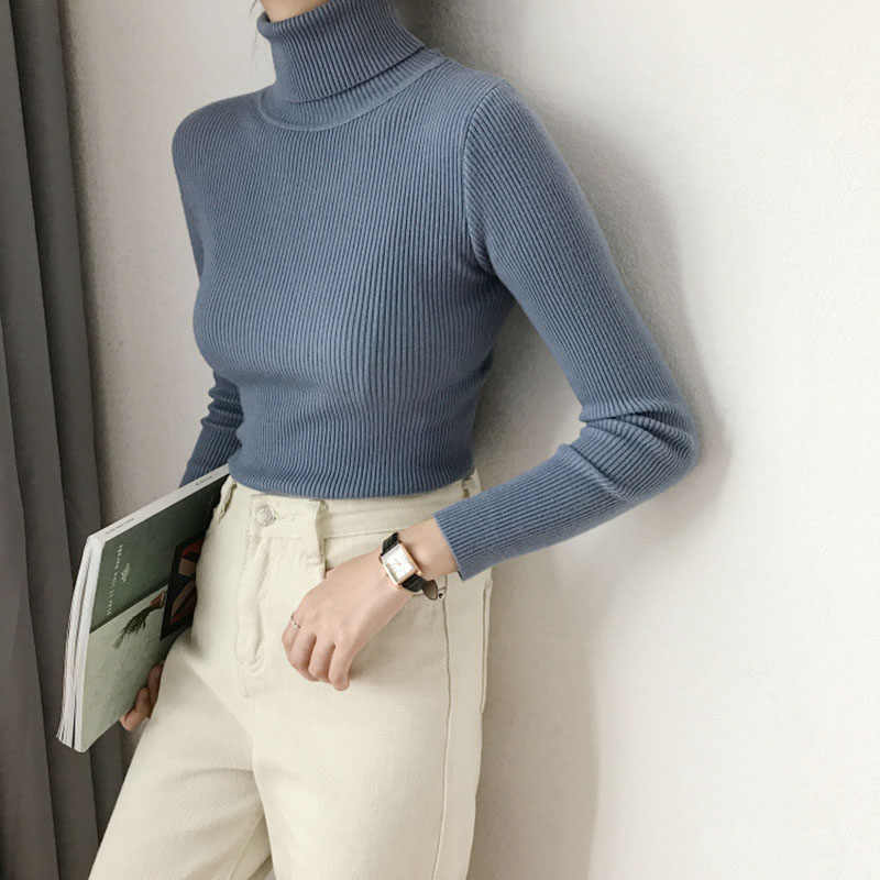 Thick Turtleneck Warm Women Sweater Autumn Winter Knitted Femme Pull High Elasticity Solid Soft Female Pullovers Sweater