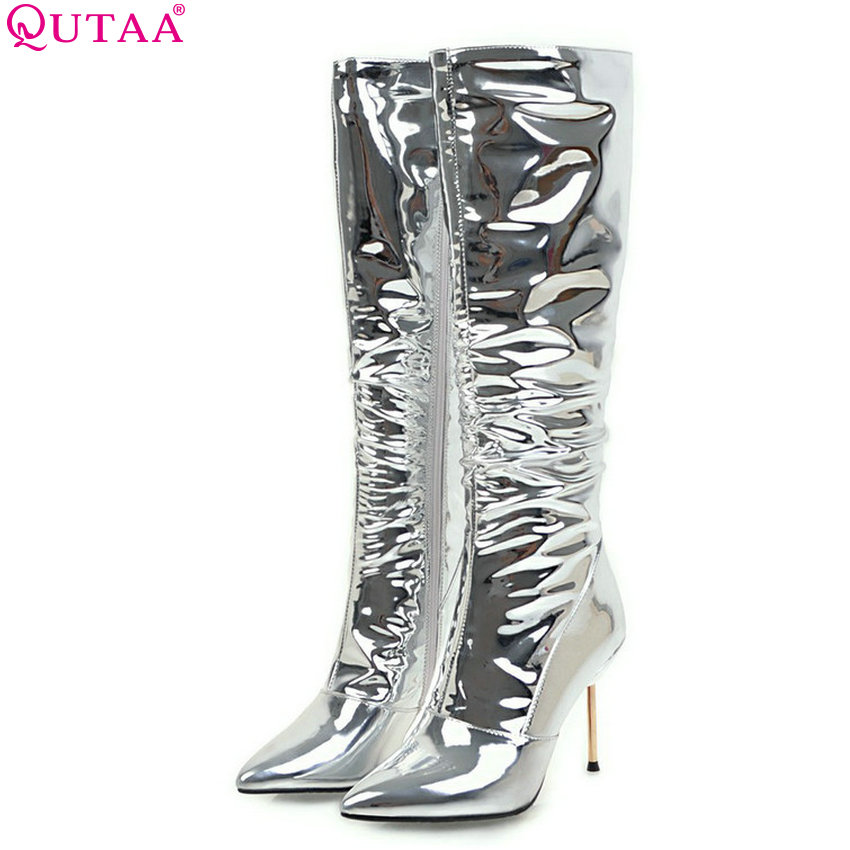 QUTAA 2019 Women Motorcycle Boots Knee High Boots Women Winter Shoes Thin High Heel Sexy Pointed Toe Women Boots Big Size 34-43QUTAA 2019 Women Motorcycle Boots Knee High Boots Women Winter Shoes Thin High Heel Sexy Pointed Toe Women Boots Big Size 34-43