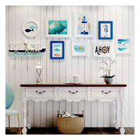 Mediterranean Style 9 pcs/set White Wood Photo Frame Art Home Decor Frame Set Creative Combination Wall Photo Picture Frame Set