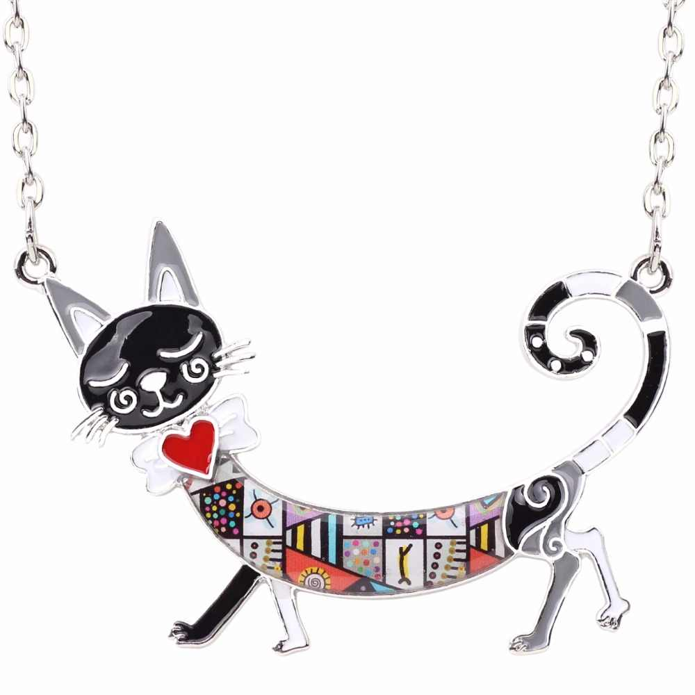 Bonsny ステートメントマキシエナメル子猫猫チョーカーネックレス合金ペンダントチェーン襟動物ペットアクセサリーの宝石