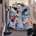 2017 Осень Новые Поступления Аппликации Джинсовые Пальто Мода Плюс Размер отложным Воротником Куртки С Длинным Рукавом Уличная Пальто 63200