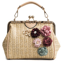 2018 Luxury Handbags Women Bags Designer Famous Brand Ladies Rattan Bag Wicker Straw Bag Summer Crossbody flower Bags For Women