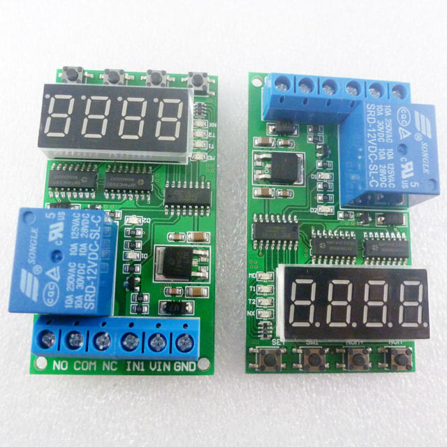 2PCS High-Trigger DC 12V 10A Multifunction Timer Delay Relay Module High Power On/Off Adjustable for PLC Motor LED Car
