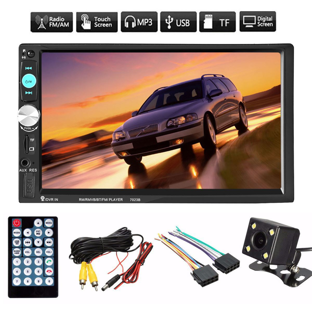 2 Din Car Radio Player 7 Inch HD Touch Screen Wireless Bluetooth Car Stereo MP5 MP3 Player Rear View Camera FM/USB/TF/AUX car radio 7 inch lcd touch screen car radio player bluetooth hands free movie rear view camera 2 din audio stereo mp5