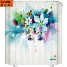 Fashion Girl Beauty Thick Bathroom Waterproof Shower Curtain Thickening Curtains Cortinas Free Shipping
