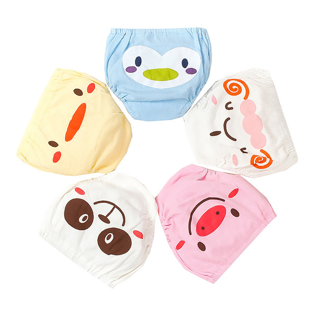 Cute Cartoon Animal Baby Underwear 5pc/set Underpants Summer Breathable Pants For Baby Girls Boys Shorts Infant Training Pants