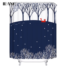 IBANO Shower Curtain Foxes Customized Bath Curtain Waterproof Polyester Fabric Shower Curtains For The Bathroom With 12pcs Hooks