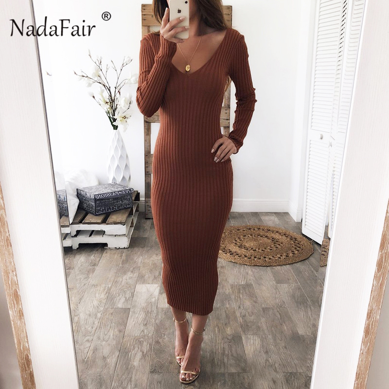 Nadafair knitted sweater bodycon long winter dresses women autumn v neck long sleeve sexy midi dresses elastic slim party dress