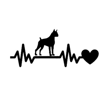 19*8.2CM Boxer Dog Heartbeat Lifeline Car Stickers Vinyl Decal Car Styling Motorcycle Truck Decoration Black/Silver S1-0900 image