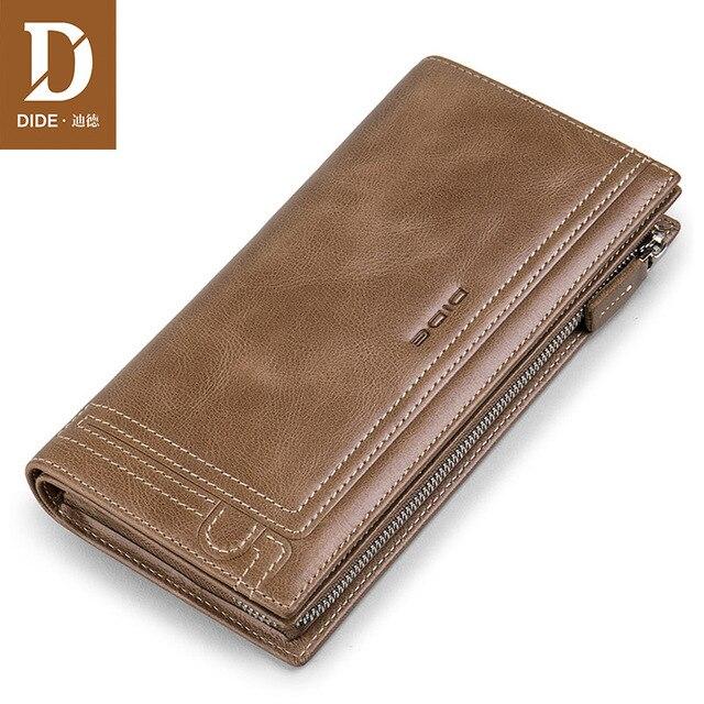 22b0f2903 DIDE hombres monedero del embrague del cuero genuino de la marca de lujo Vintage  cartera hombre