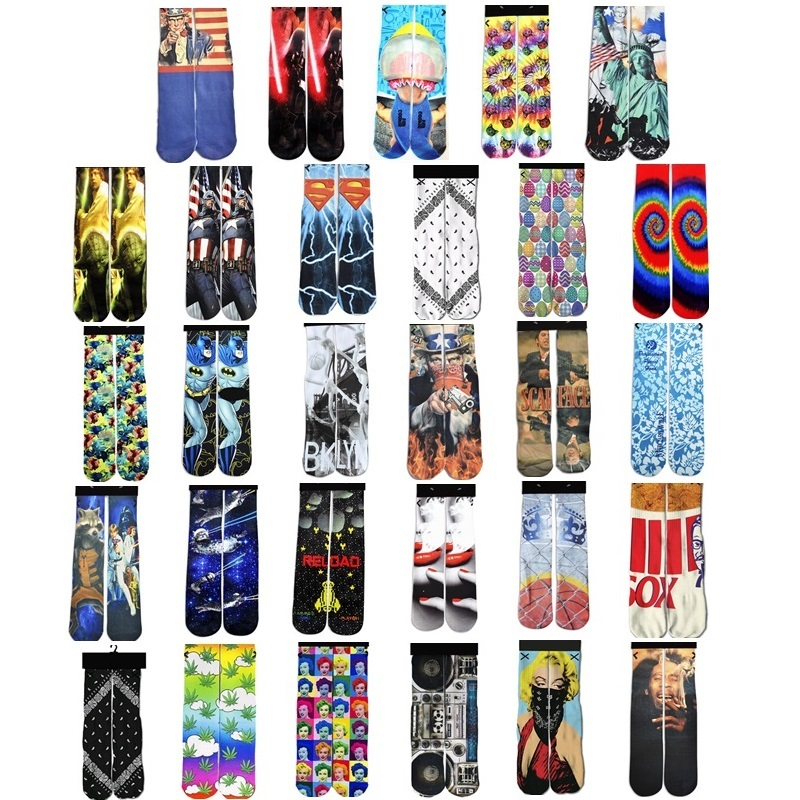 2018 NEW 3d Printed Harajuku Funny Socks Women/Men Casual Cotton Warm Ankle Sock High Quality Captain America/Bob marley Socks ...
