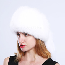 4d044cb2 New Winter Russia women lady genuine fur hat Mongolia warm with fox tails  Rhinestone real fox