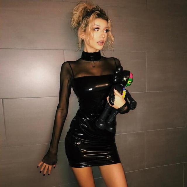 2017 mode frauen Midi kleid langarm rollkragen mesh bleistift kleider sexy Schwarz kunstleder mini bodycon vestidos