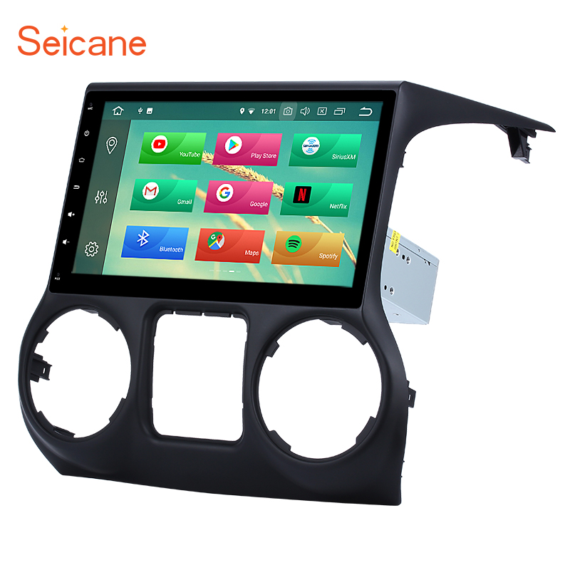 Seicane 10.1 8-core 1 DIN Android 8.0 Bluetooth GPS Car multimedia Stereo for JEEP Wrangler with RAM 4G Flash 32G AUX WIFI
