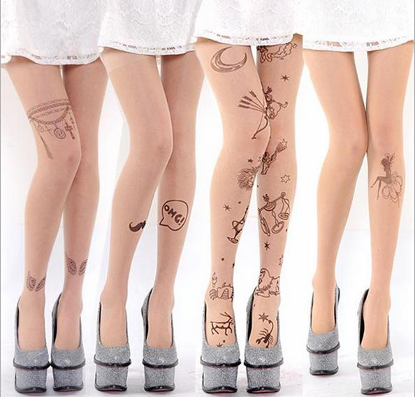 QA93 Summer Ultra Tights Velvet Tattoos Print Pantyhose Women Breathable Open Crotch Stockings