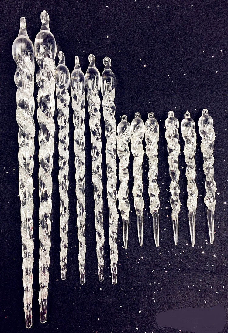 12 pieces 13cm 23cm 30cm mixed acrylic icicle christmas for Acrylic decoration