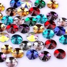 10 мм, 50 шт., круглые стразы для шитья из смолы, кристаллы с плоским основанием, два отверстия, камни для шитья одежды, 10 цветов на выбор