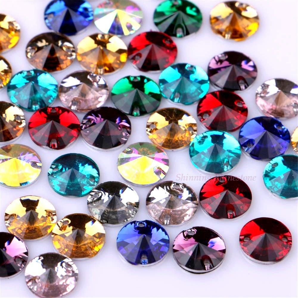 10mm 50st Rund Söm Harts Rynk Söm On Point Facet Crystals Flatback Två Hål Sew-On Garment Stones 10 Colors Choice