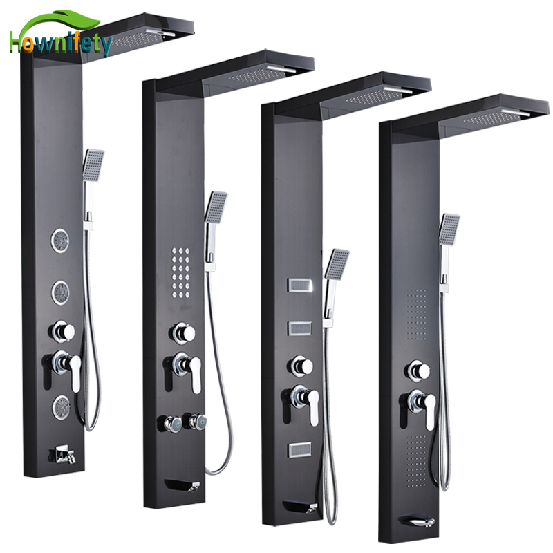 Stainless Steel Bathroom Shower Panel Rainfall & Waterfall Shower Head Shower Column with Hand Shower Oil Rubbed Bronze