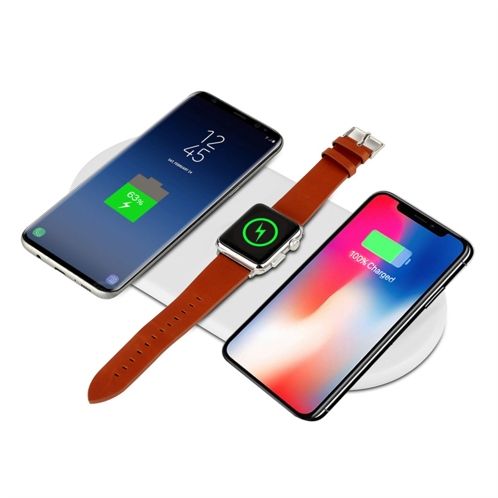 3 in 1 Qi Wireless Charger For iPhone X 8 Plus Samsung S8 S9 10W Quick