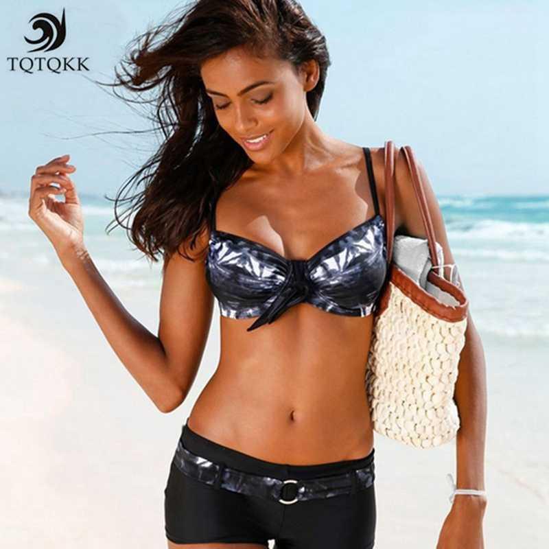 7e4174ed16 2019 Sexy Bikini Set Push Up Print Swimwear Women Swimsuit Plus Size Bikini  Tankini Sport Two