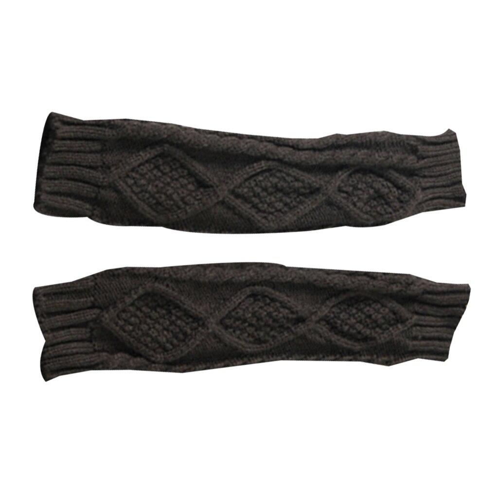 1 Pair Autumn Winter Women Knit Gloves Arm Wrist Sleeve Warmer Girls Rhombus Long Half Winter Mittens