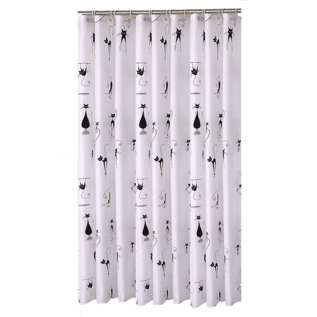 Cartoon Black Cat Designer Mildew Free Water Repellent Fabric Shower Curtain Liners Bathroom Polyester Waterproof Curtains 180CM