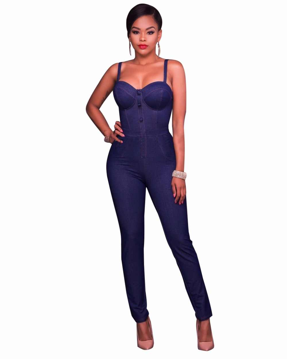 26ed6d4fbe98 New Summer Women Slim Casual Jumpsuits fashion Jeans condole Rompers Female  Sexy Club Zipper Overalls Macacao