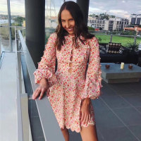 High Quality Women Dress Hole Elegant Floral Tunic Beach Sundress Summer Dress Mini Dresses Long Sleeve