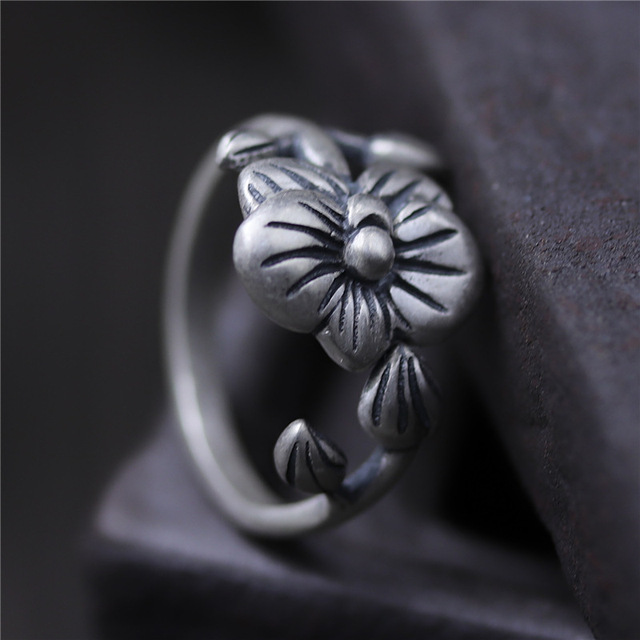 Aliexpress com : Buy C&R Pure 990 Sterling Silver Rings for Women Vintage  flower bud opening Thai Silver Ethnic ring Fine Jewelry Size 6 10 from