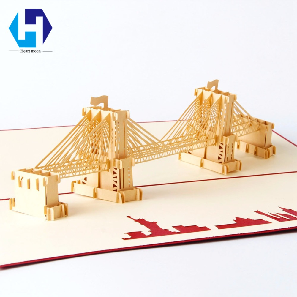 Brooklyn Bridge Landmark building 3D pop up greeting card laser cutting dies envelope hollow carved handmade kirigami gifts found in brooklyn