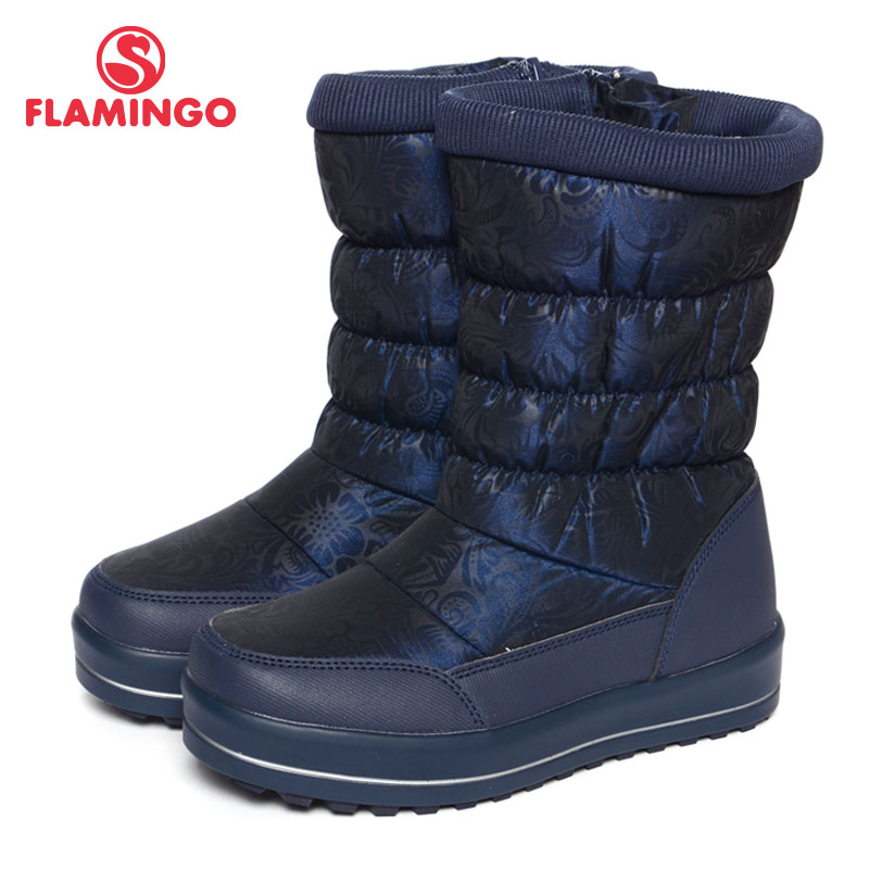 FLAMINGO Winter Waterproof Wool Warm Orthotic Arch High Quality Kids Shoes Anti-slip Snow Boots for Boy Size 33-37 72C-W6NQ072 extreme size 34 zipper booties black ankle high heel platform women boots winter 2017 stiletto shoes round toe ladies fashion