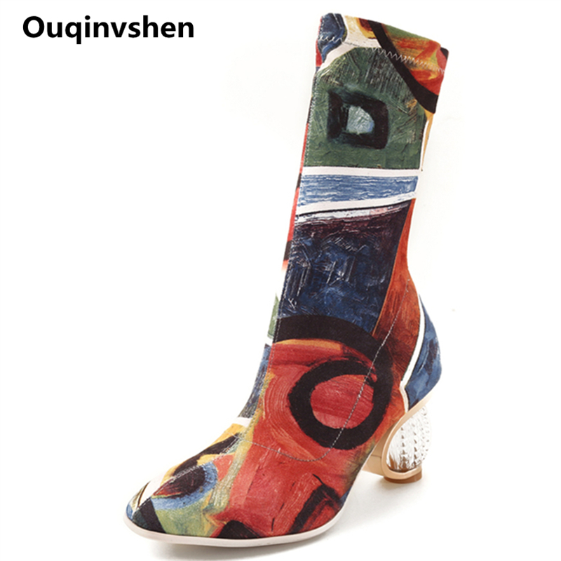 Ouqinvshen Strange Style Over The Knee Boots Plus Size 34-43 Plaid Stretch Fabric Fashion Casual Pumps Mixed Colors Winter Shoes