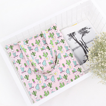 YILE Handmade Cotton Canvas Shopping Tote ECO Carrying Bag Cactus Pink L094 NEW фото