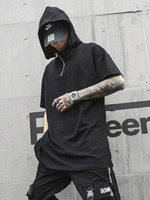 Men Fashion Casual Hooded T shirt Male High Street Hip Hop Punk Tee Shirt Streetwear T Shirt